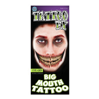 Big Mouth Temporary Tattoos -  Evil Grin