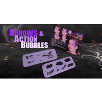 Arrows & Action Bubbles Face Painting Stencils - Graffiti Eyes Booster Pack