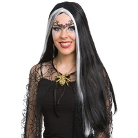 Lily Long Black Wig with White Stripes